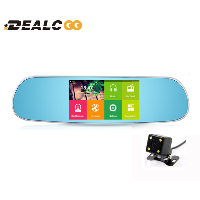 Dealcoo 5 inch Car DVR GPS Android Rearview mirror no Bluetooth Monitor 1080P Dual Lens Camera Video GPS Navigation free maps