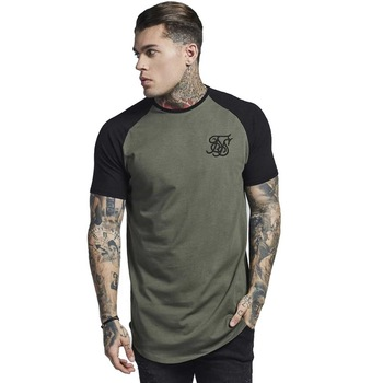 af4517b6db Nueva camiseta de seda sik de algodón para hombre cuello redondo manga  corta empalme kanye west Hip Hop Moda hombre Ropa camisetas hombre tee