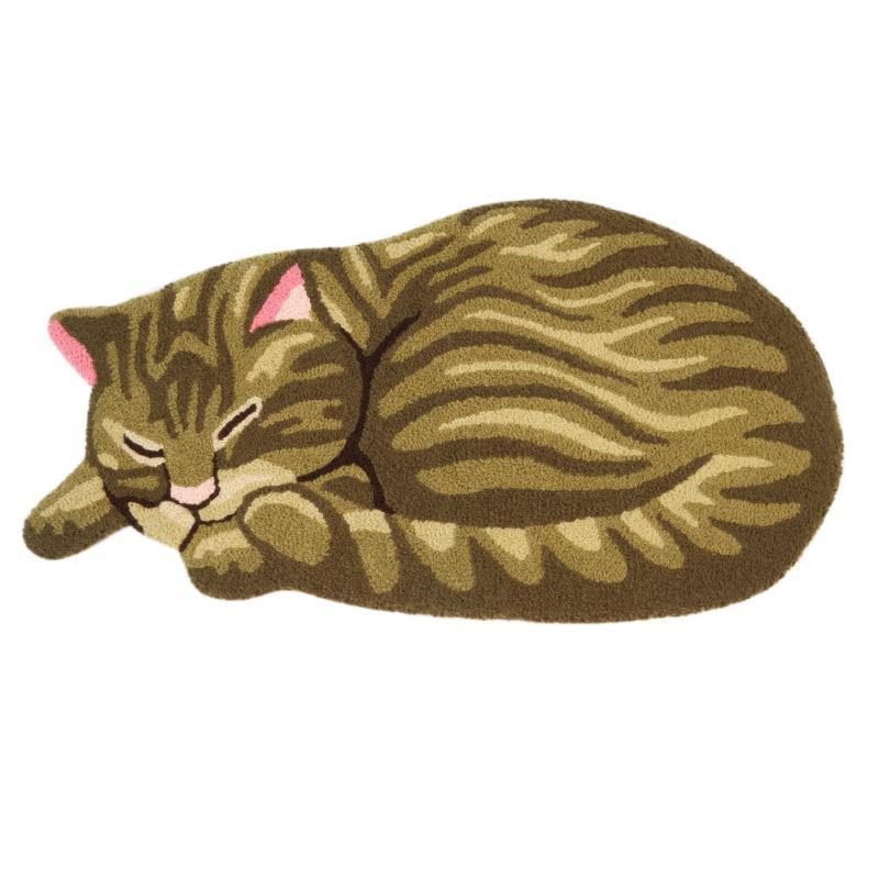 33 X 18 Inch Brown Cute Sleeping Cat Shaped Bedroom Area
