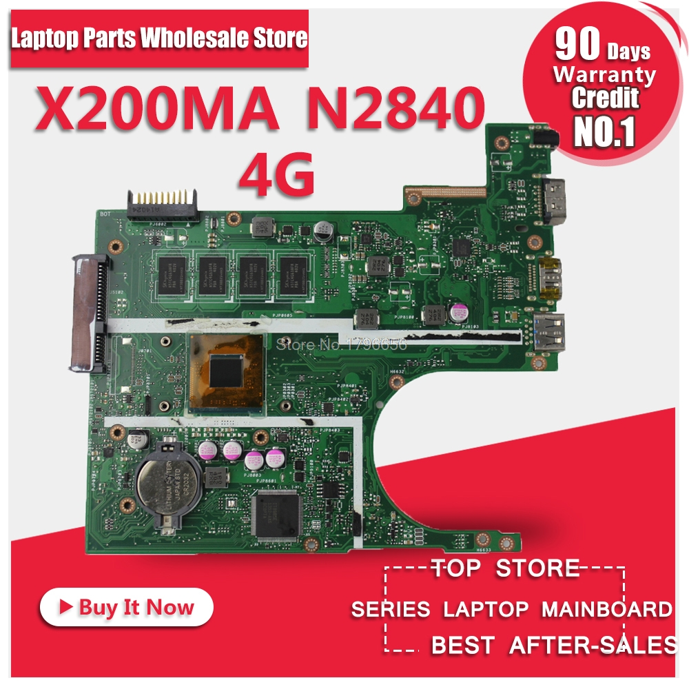 все цены на Original laptop Laptop motherboard FOR ASUS K200MA F200MA X200MA mainboard With N2840 CPU 4G Integrated fully test онлайн
