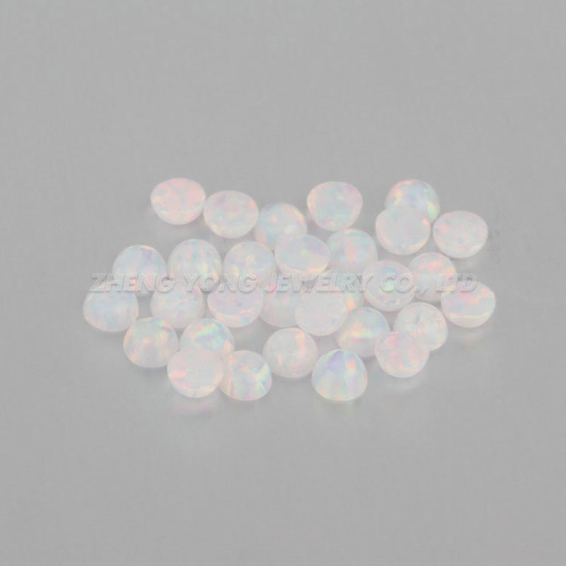Hot Sale White Color Round Flat Back Cabochon 2mm Synthetic Opal Stone for Jewelry Setting