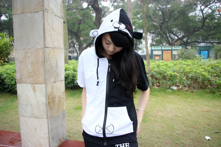 Short Sleeves COSPLAY Academy Anime Peripheral Black and White Bear Hoodie Autumn and Open Chain Coat