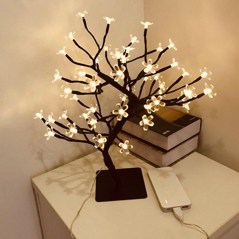 Бонсай ветка дерева, 48 светодиодов, переключатель управления, яркий, вишневый цвет, Настольный светильник, черные ветки, праздничные, домашние, свадебные Праздничное освещение      АлиЭкспресс