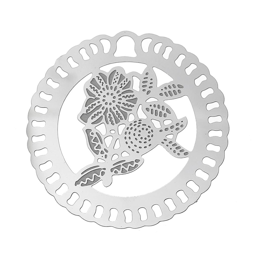 DoreenBeads Stainless Steel Embellishments Findings Round Silver Tone Hollow Flower Pattern 4cm(1 5/8)Dia,10 PCs 2015 new