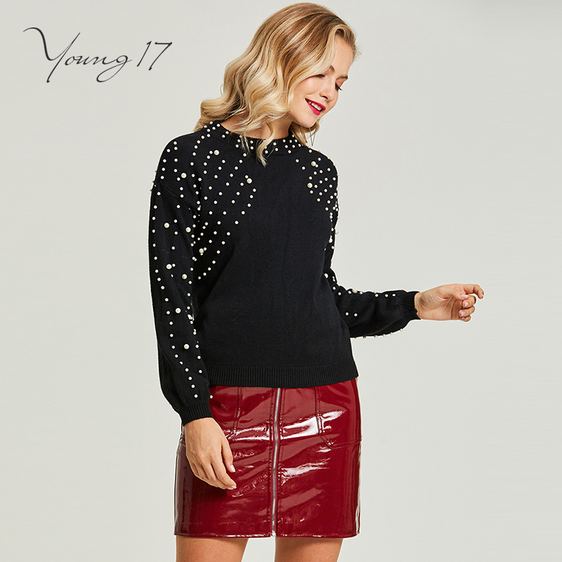 Young17 Pullover Knitted Sweater Black Bead Women Autumn Winter O Neck Girl Elegant Beauty Fashion Sexy