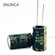 100 יח\חבילה 450v 22UF 450v22UF נמוך ESR/עכבה גבוהה תדר אלומיניום אלקטרוליטי קבלים גודל 13*20 20%