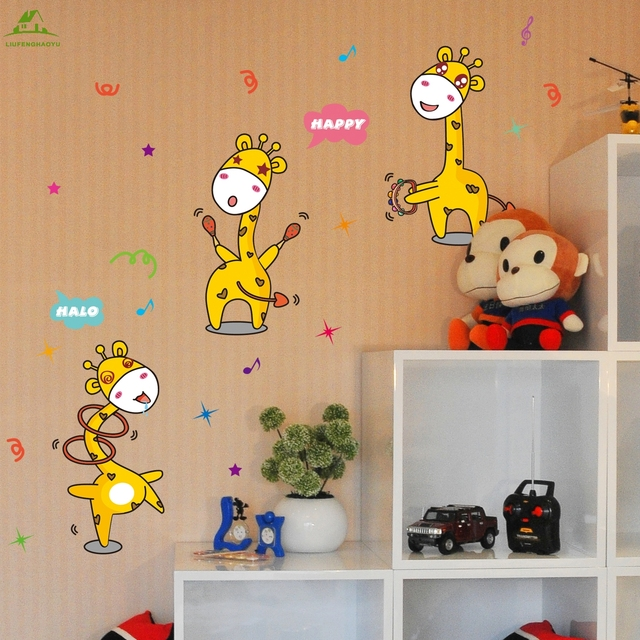 Singing Happy Giraffe Wallpaper For Kids Rooms Home Decor Art Decals 3D  Sofa Bedroom House Decoration