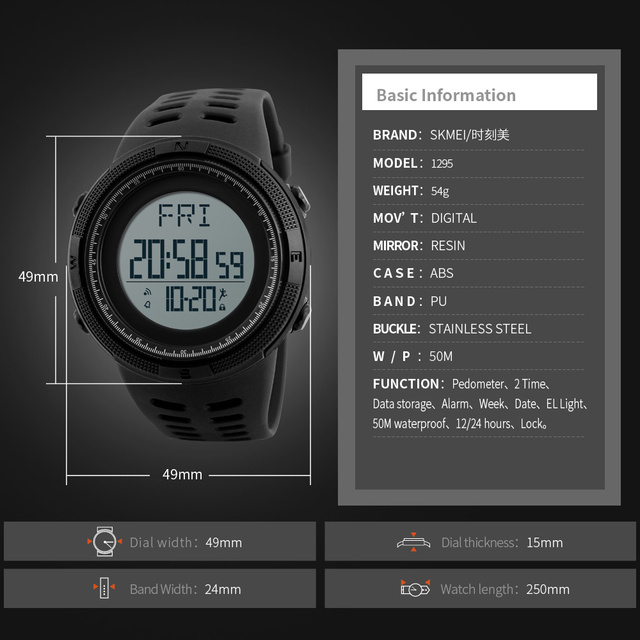Skmei Luxury Brand Mens Digital Watch 50M Waterproof Pedometer Sports Watches Outdoor Running Military Electronic Wrist Watches