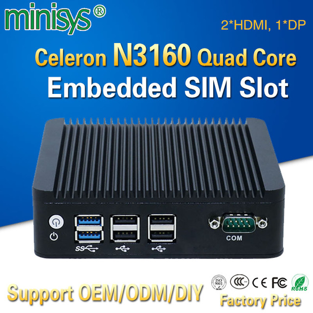 Mini pc en Stock avec Intel celeron N3160 quad core 1.6 GHz double lan 2 * HDMI 1 * DP 6 * USB X86 ordinateur de bord simple pour le bureau