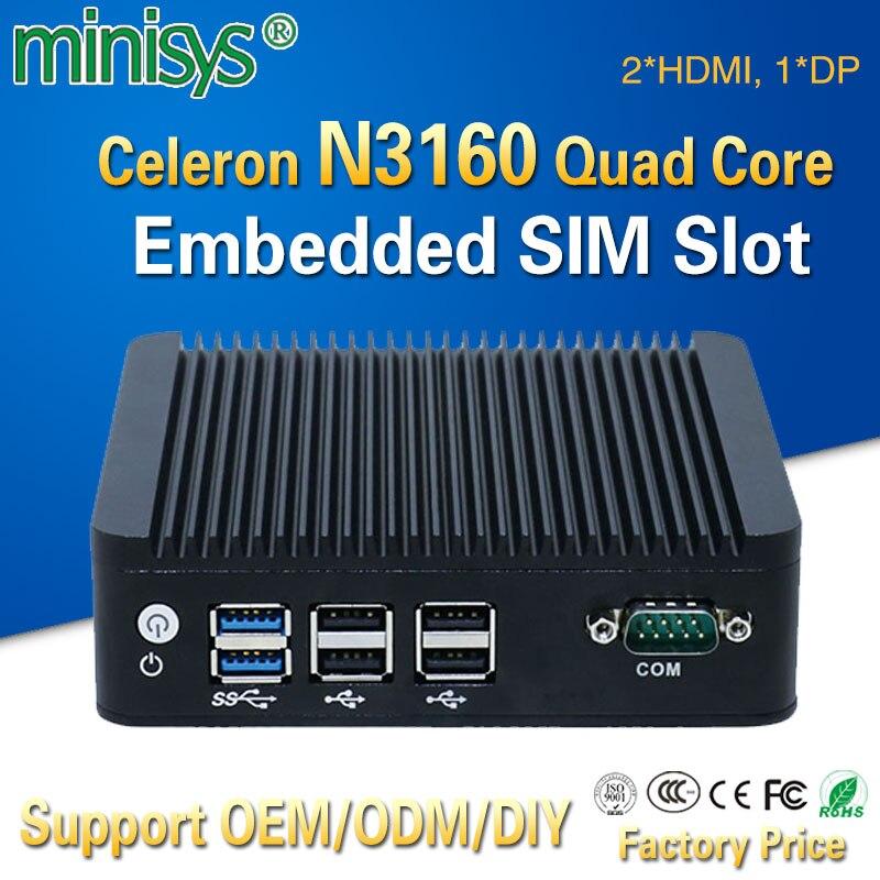 Mini pc en Stock avec Intel celeron N3160 quad core 1.6GHz double lan 2 * HDMI 1 * DP 6 * USB X86 ordinateur à carte unique pour le bureau