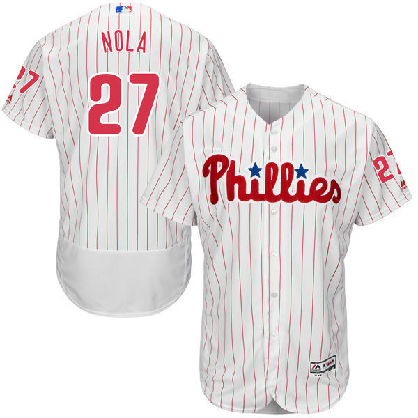 MLB Mens Philadelphia Phillies Aaron Nola Baseball Home White/Scarlet Flex Base Authentic Collection Player Jersey
