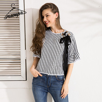 Gracegirl 2017 Summer Women Tops Series Autumn Fashion Striped Hollow Lacy Bow Flare Sleeve Sexy Blouse
