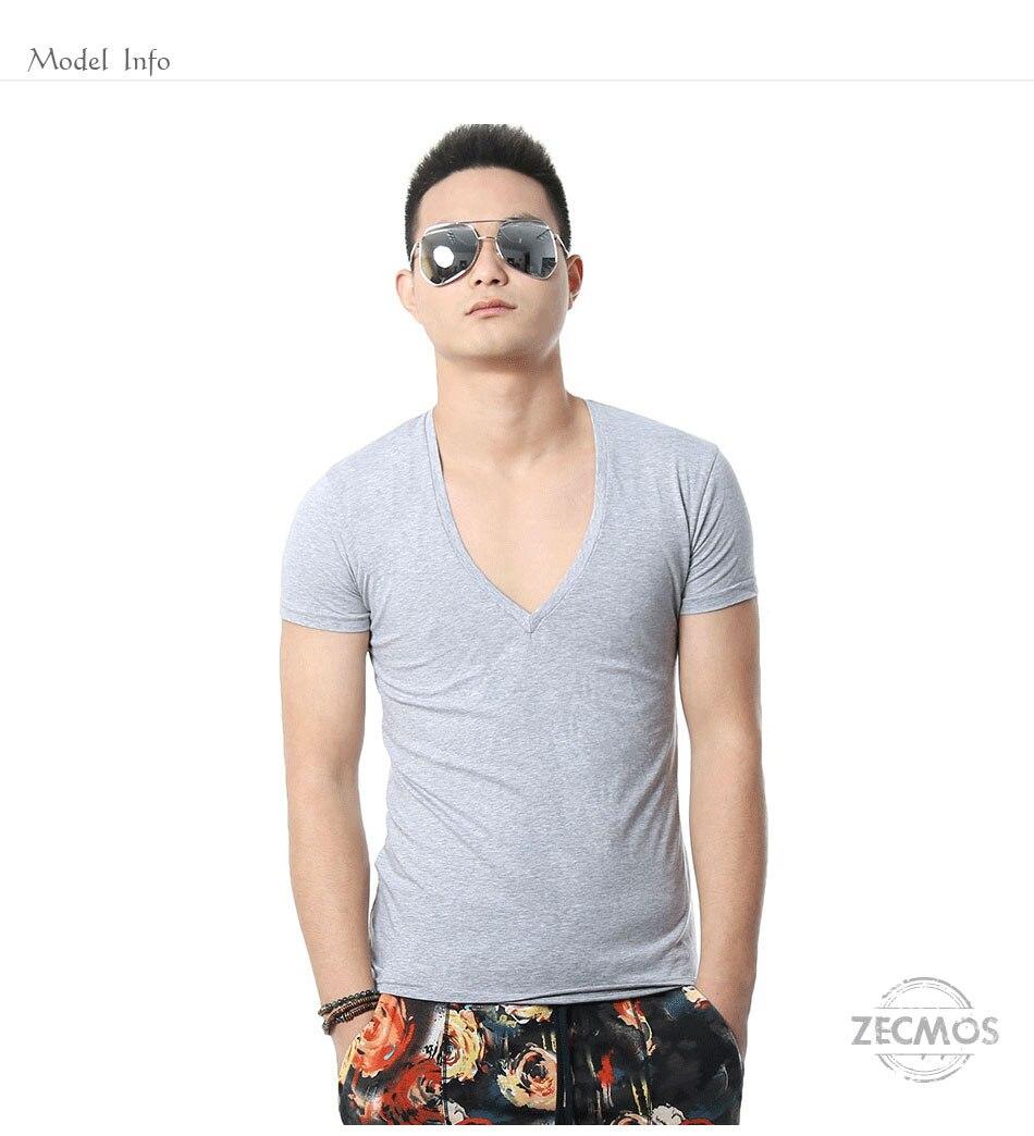 Zecmos Deep V Neck Sexy Men T-Shirt Vintage Short Sleeve Solid Color Muscle Fit T Shirt Men Top Tees Fashion 1