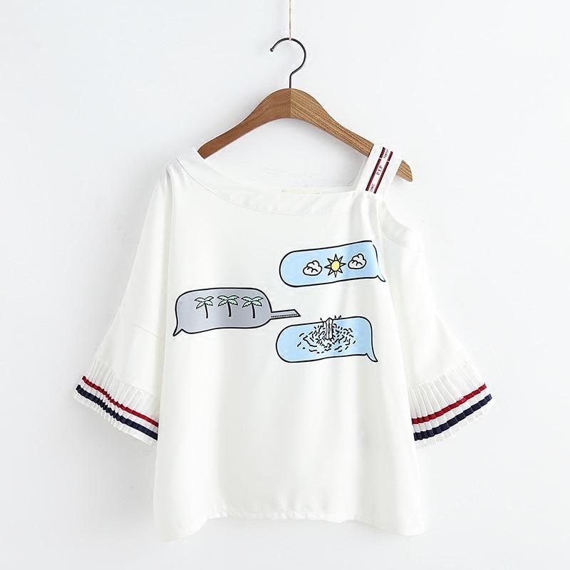 Летние японские пикантные женские футболка мода корейский шифон плиссированные рукава Топы каваи печати Тонкий с открытыми плечами Для же...