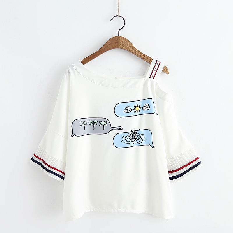 Summer Japanese Sexy Female T shirt Fashion Korean Chiffon Pleated Sleeve Tops Kawaii Print Slim Off Shoulder Womens T-shirts