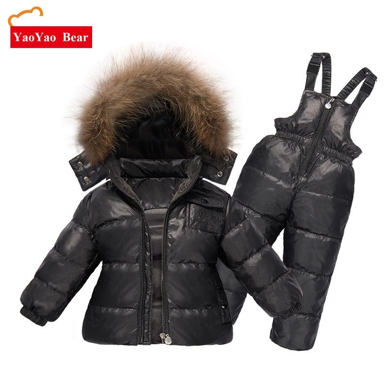 e06484c91 Children Winter Clothing set Boys Ski Suit Girl Down Jacket Coat + ...