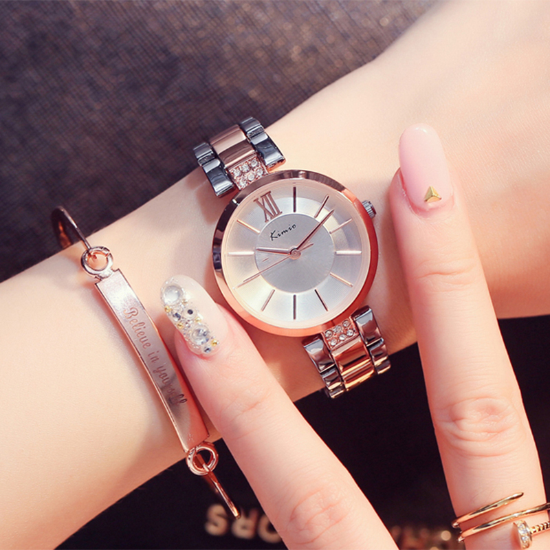 KIMIO Thin Women Watches Fashion Simple Rhinestones Ladies Dress Watch Rose Gold Quartz Women Waterproof Wristwatch guou women minimalist sport hot watch thin dial ladies watches rose gold stainless steel wristwatch fashion dress women clock