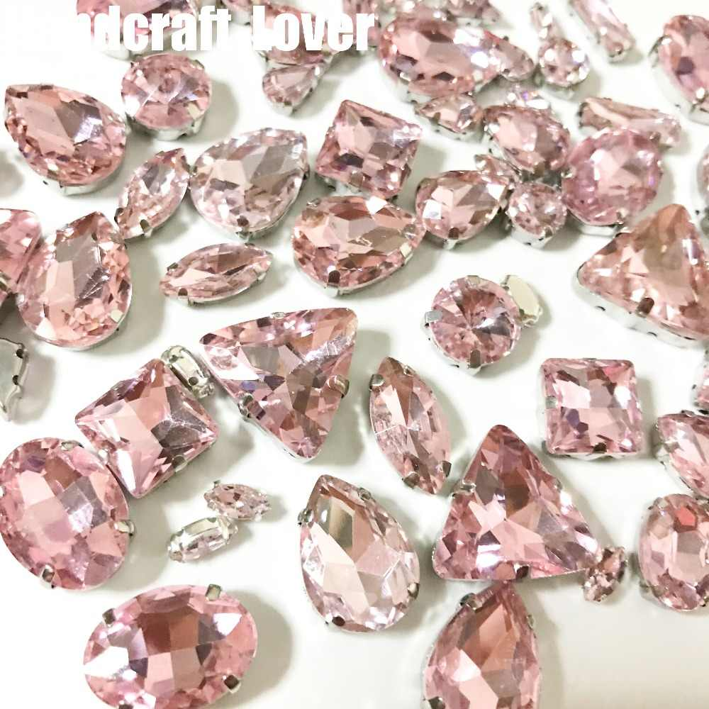 4557695d48 50pcs Pink High quality Mix Shape Glitter Crystal Colorful sew on  Rhinestones with Claw for Wedding dress DIY clothing shoes