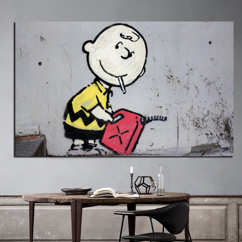 Graffiti British Street Art Charlie Brown Poster Oil Painting HD Print On Canvas Pop Art Wall