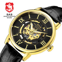 New Punk Luxury Business Mechanical Watch Men's Fashion Skeleton Watch Leather Waterproof Watches Luminous Masculino Relogio(China)