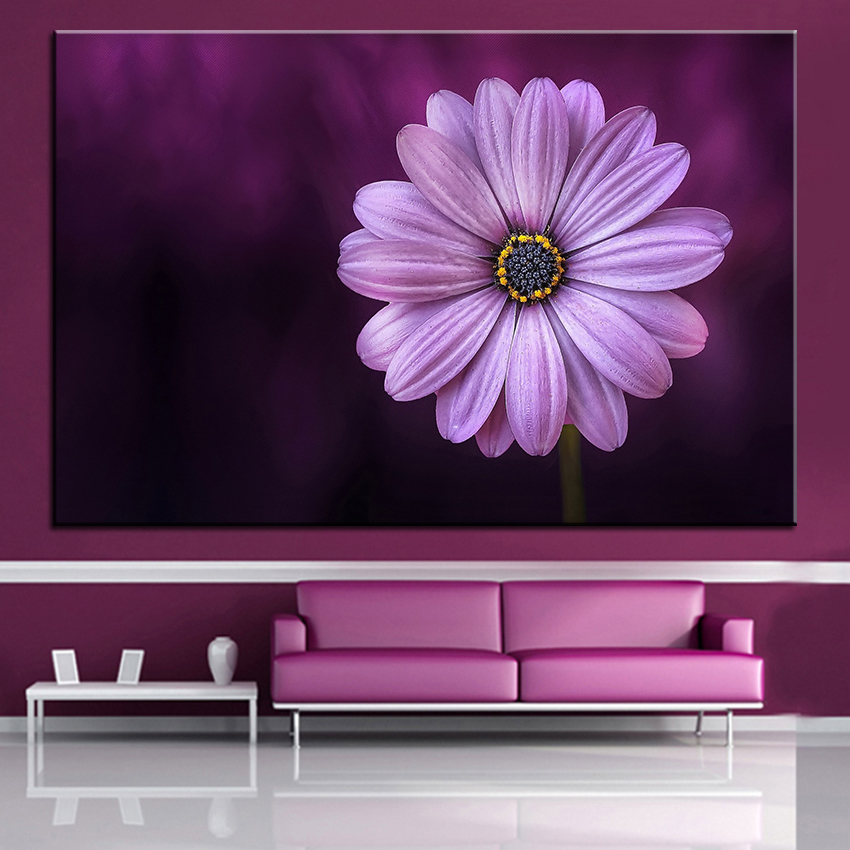 Purple Vegetable Wall Art: Large Size Printing Oil Painting Purple Daisy Flower Wall