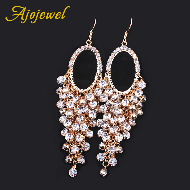 Ajojewel Bohemian Style European Luxury Long Earrings Heavy Crystal Rhinestone Tassel Earrings For Women Wedding Jewelry Party