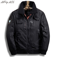 High Quality Thick Bomber Jacket Male With Fleece Collar Military Tactical Winter Jacekt Clothing AKing ACE