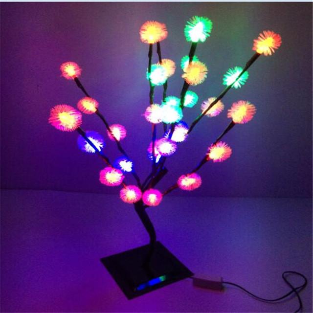Multicolor 32 LEDS ao ar livre Mutável led Bolas Peludas Edelweiss Floco De Neve levou luzes da árvore de natal decoração