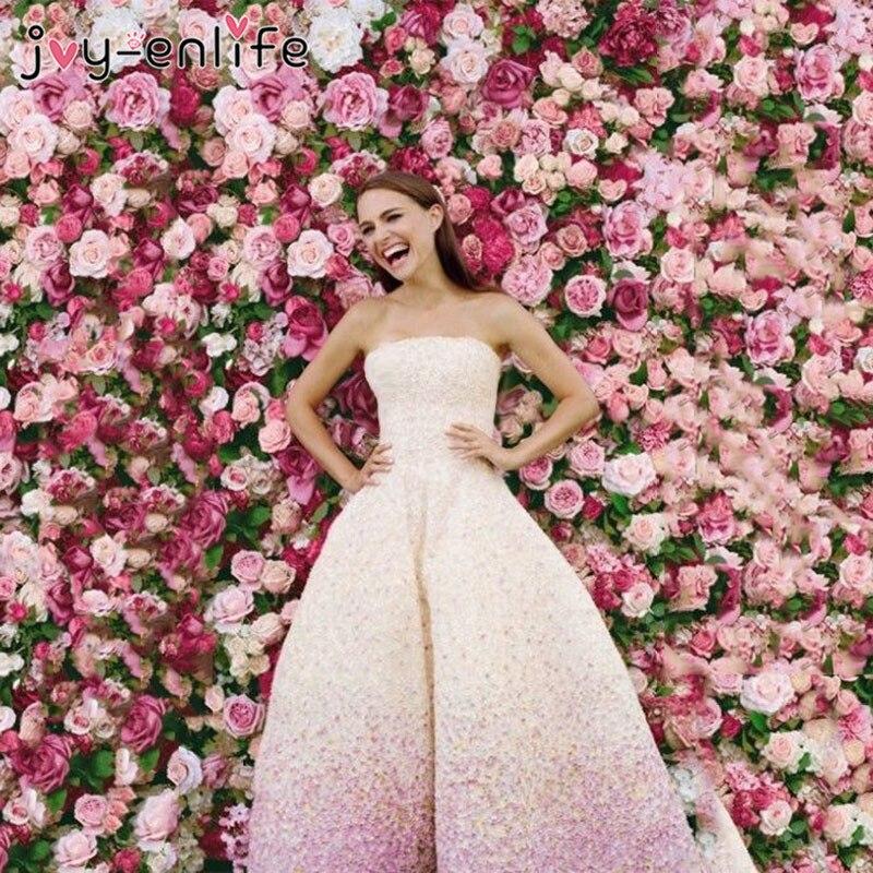 40x60 cm Silk Rose Blume Champagner Künstliche Blume für Hochzeit Dekoration Blume Wand Romantische Hochzeit Hintergrund Dekoration