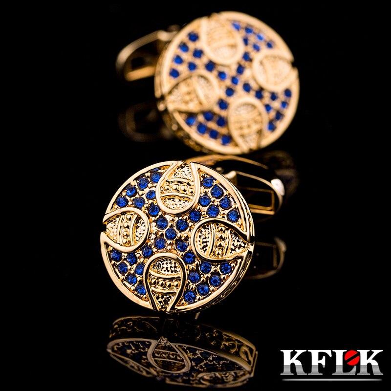 KFLK Jewelry For Men 2017 Retro Round Blue Crystal Cufflinks Shirts Button High Quality Brand Luxury Wedding Men Free Shipping