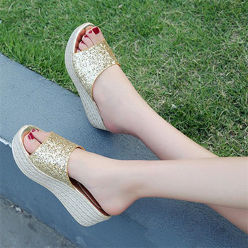 COOTELILI Summer Slippers Women Slides Flat Platforms Thong Sandals Woman Causal Wedge Women Shoes Slip on Bling Glitter