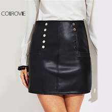 COLROVIE PU Leather Pencil Skirt Black Sexy Zip Back Women Club Mini Summer Skirts 2017 Fashion Casual High Waist OL Work Skirt(China)