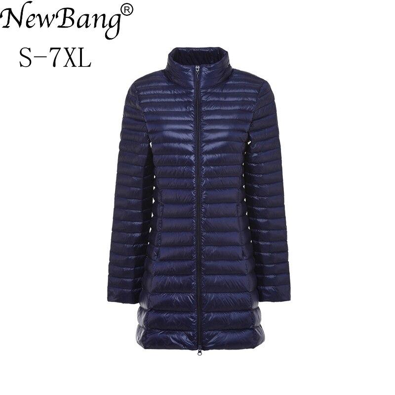 NewBang Plus 5XL 6XL 7XL Feather Jacket Women Ultra Light   Down   Long Jacket Large Size Autumn Winter   Down     Coat   Female Slim