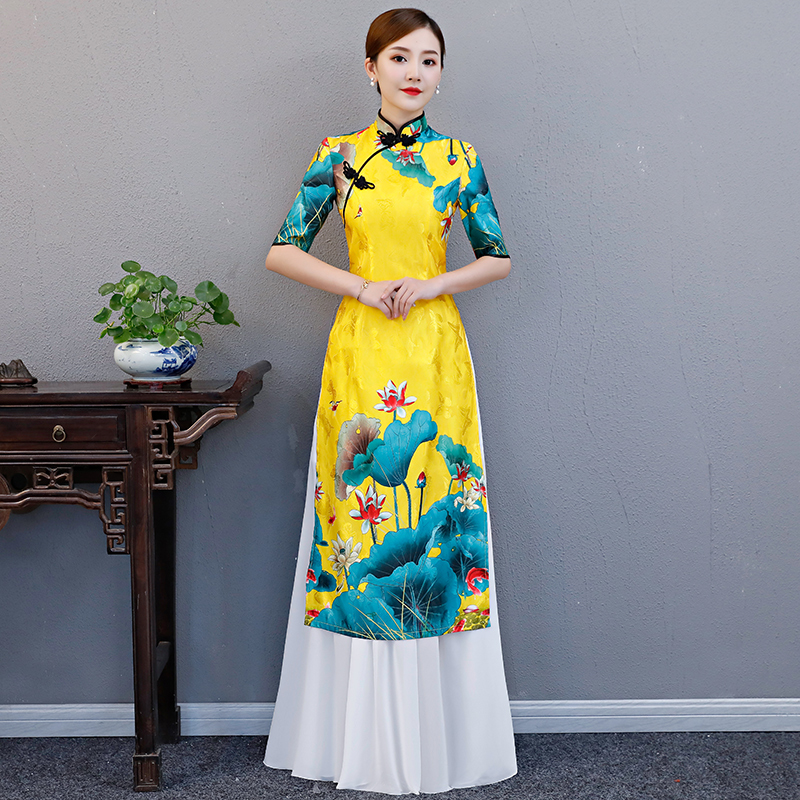 AO Dai Long Cheongsam Traditional China Style Party Qipao Robe Oriental Womens Elegant Evening Dress Vestido Plus Size S-5XL