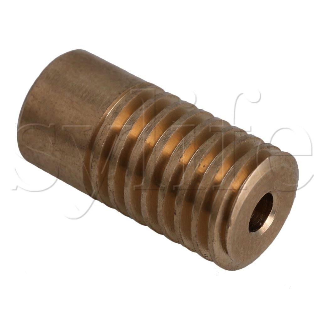2x9.7x5mm Yellow 0.5 Modulus 5mm Hole Dia Brass Worm Gear Shaft for Driving Gear Box Worm Wheel Industrial Accessory cylinder 2 5mm thread hole dia magnetic gear box motor dc24v 1000rpm