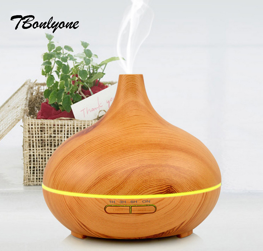 Tbonlyone Dark Wood Grain 300Ml Timer Colorful lamp For Home Humidifier Aroma Essential Oil Ultrasonic Aromatherapy Diffusers ware r in a dark dark wood