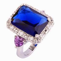 Fashion Rings Jewelry  Blue Sapphire Quartz 925 Silver Ring Size 7 8 9 10 Emerald Cut New Design Gift  For Women Wholesale