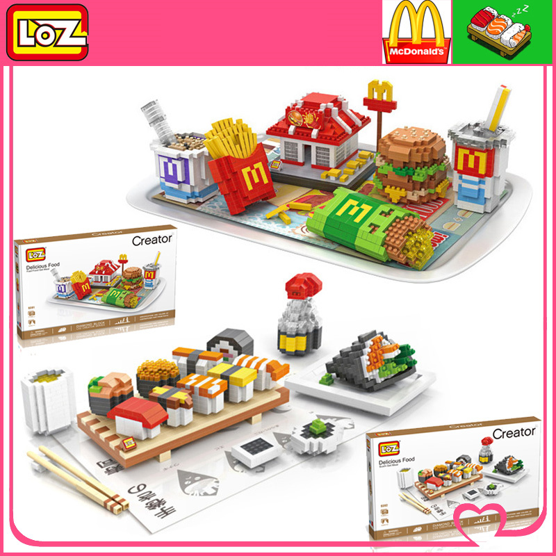 LOZ McDonald's Hamburg Food Sushi NanoBlocks 3D DIY Building Blocks Bricks Action Figures Education Kids Toys Gift Decoration go garden weekend 46 mobile 475 545 825