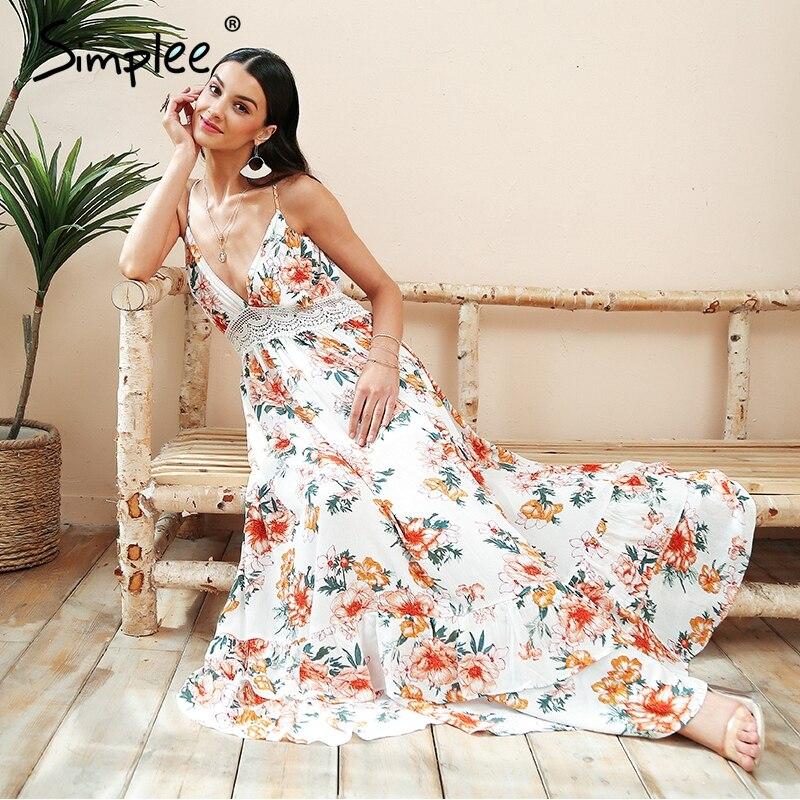 Simplee Boho печати спинки длинное летнее платье женское цветочное глубокий v-образный вырез сексуальное платье 2018 белые кружевные свободные пля...