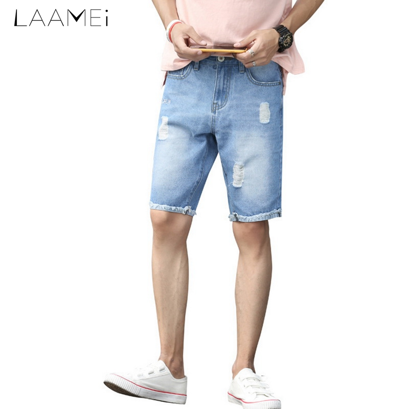 Laamei Males Knee-length Short Jeans Plus Size Straight Pants Mid-waist Jeans Hole Worn Summer Casual Trousers 2018 Newest