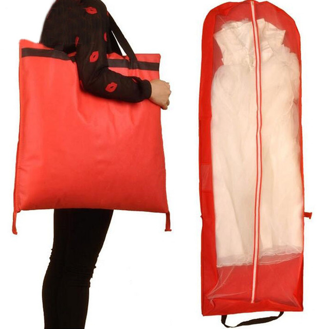 10pcs 155x55cm Red Color Garment Bag For Wedding Dress Gown Non Woven Foldable