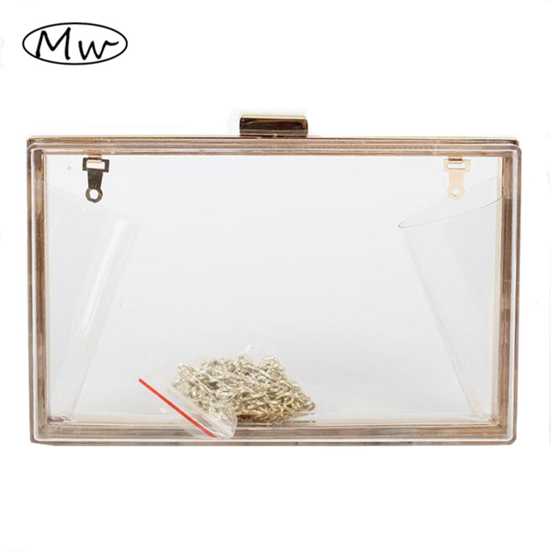 2017 New Acrylic Transparent Box Clutch Bag PVC Hand Bag Women Party Banquet Evening Bag Mini Chain Shoulder Bag Purses Wallet mini gray shaggy deer pvc quilted chain bag with cover real picture
