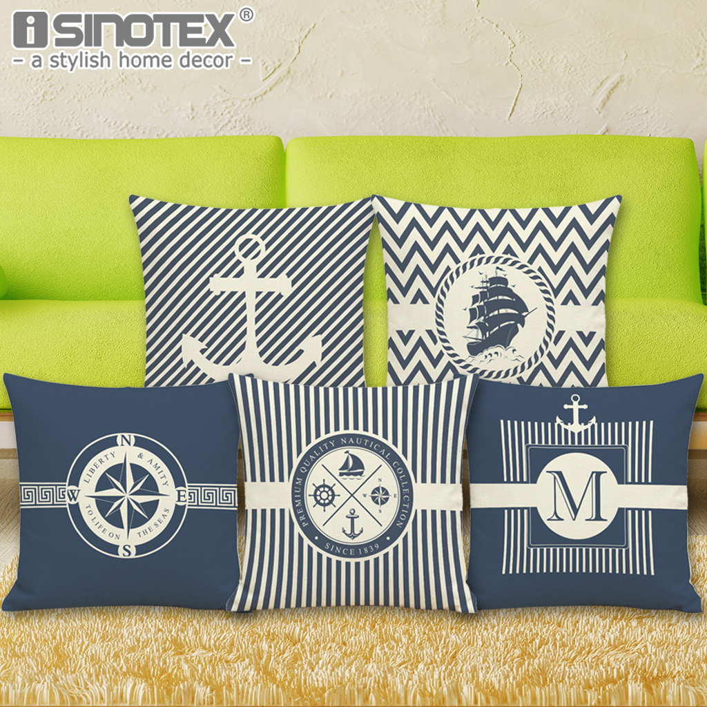 Anchor Cushion Cover Marine Culture Throw Pillowcase Sailoru0027s Linen Pillow  Cover For Sofa Bedroom Home Decorative