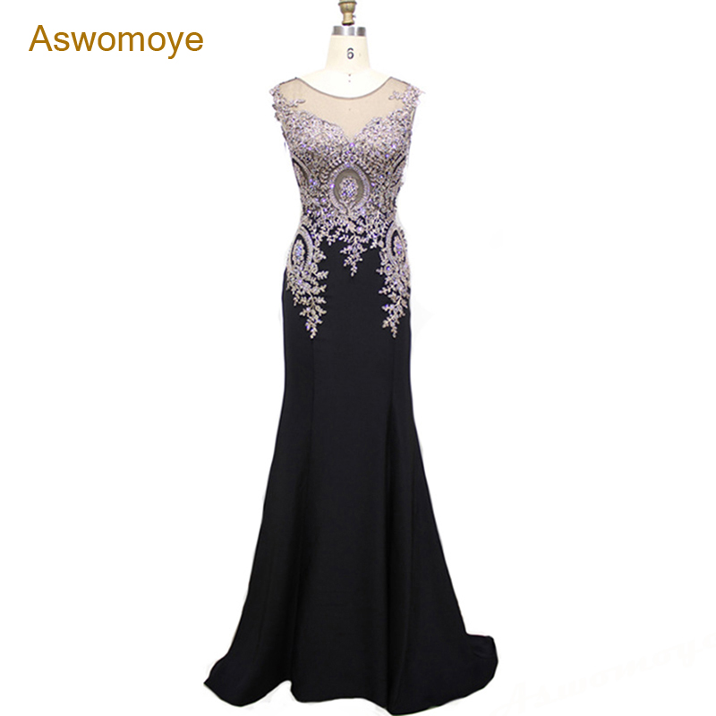 2018 New Embroidery Mermaid Evening Dress See Through Top Evening Gowns Sexy Party Dress Formal Dresses Mother of the Bride Dres