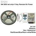 5050 Led Strip 5m 30leds/m Warm white red green blue white Non-waterproof  fleixble strips kit+11Keys remote+12V 3A Power