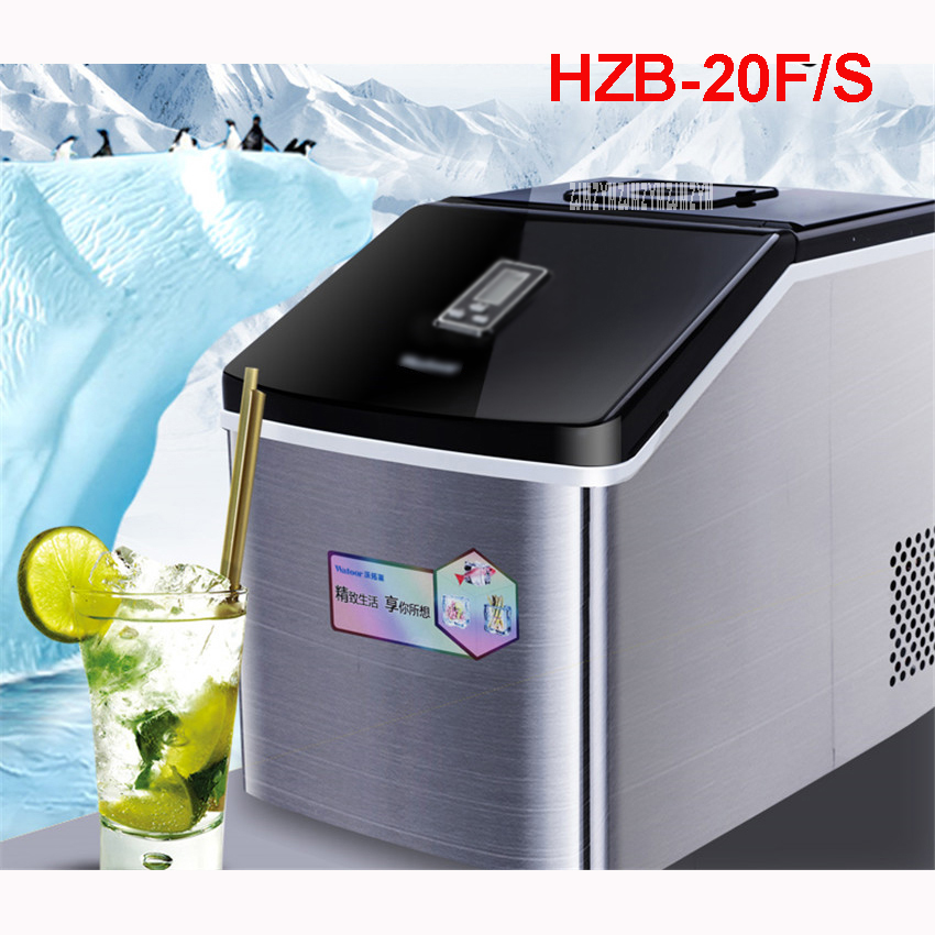 25kg/24h Ice Maker Ice Machine Commercial Milk Tea Shop Home Small Automatic Ice Machine Large Capacity HZB-20F/S 220 V/ 50 Hz