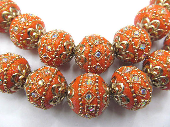 wholesale bulk 20mm 100pcs handmade round clay &crystal connector ball kashmiri polymer with brass oranger mixed jewelry beads wholesale bulk 20mm 100pcs handmade round clay