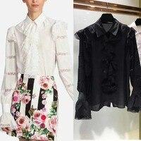 Женская рубашка, шелковая блузка, платье с оборками, модное с кружевной вышивкой, женские блузки из шифона