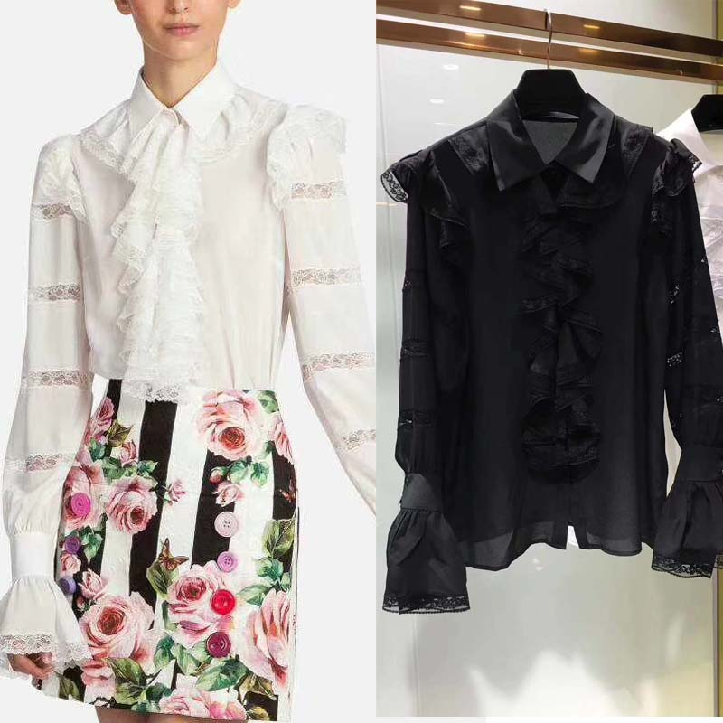 Chemise femme chemisier soie oodji a volants desigh mode dentelle couture blouses femme mousseline atmosphère bliuses blusa feminina