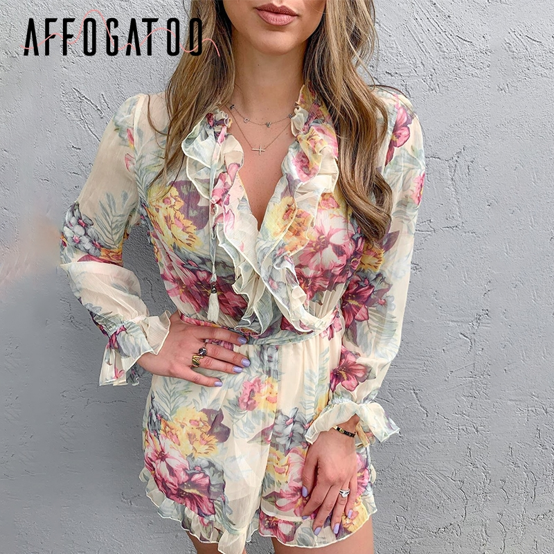 Affogatoo Vintage elegant ruffle floral print women   jumpsuit   High waist summer beach playsuit Long sleeve casual loose rompers